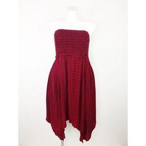 💜Torrid Red Black Gingham Check Strapless Dress